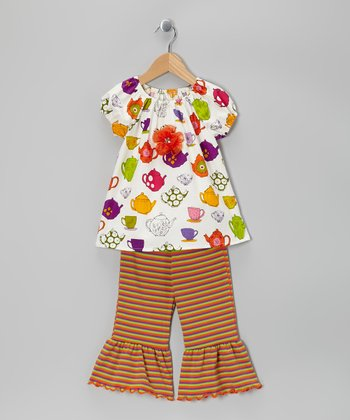 White Teacup Peasant Top & Capri Pants - Toddler & Girls
