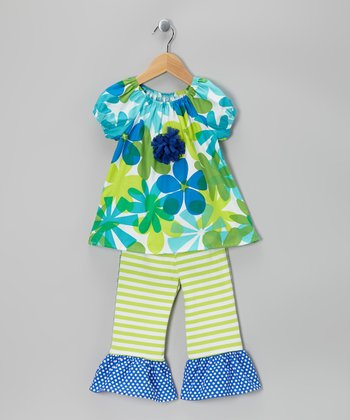 Blue & Green Floral Peasant Top & Capri Pants - Toddler & Girls