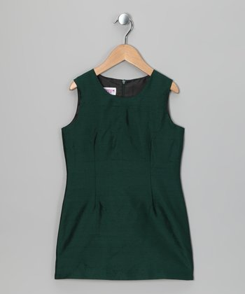 Dark Green Silk Sheath Dress - Toddler