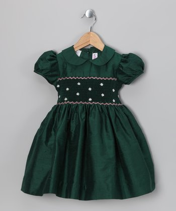 Green Smocked Silk Dress - Infant, Toddler & Girls