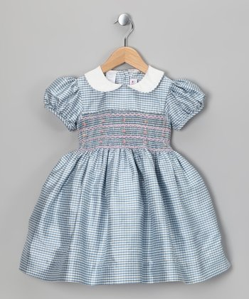 Light Blue Smocked Silk Dress - Toddler & Girls