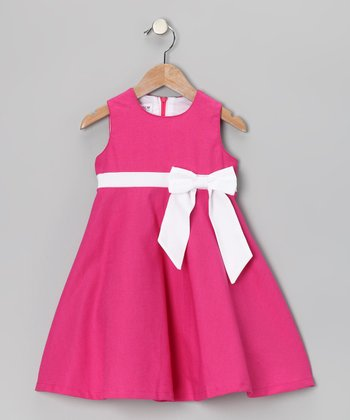 Hot Pink Bow Pleated Linen-Blend Dress - Girls
