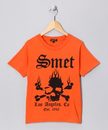 Orange 'Smet' Skull Tee - Toddler & Boys