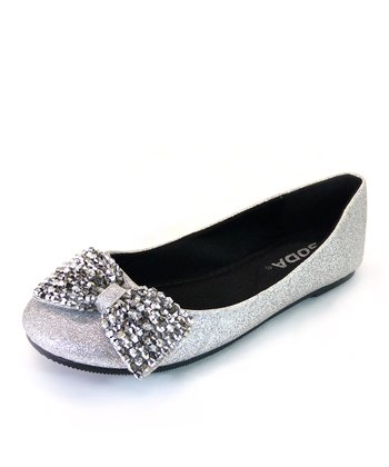 Silver Glitter Easier Bow Flat