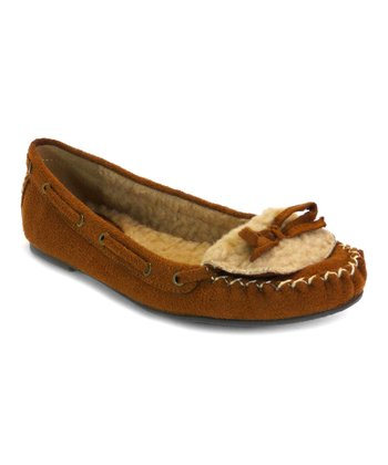 Tan Fleece Stash Moccasin - Kids
