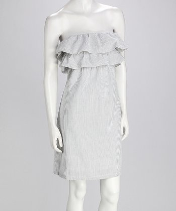 Gray & White Strapless Ruffle Dress