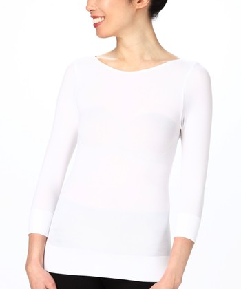 On Top Three-Quarter Sleeve Boatneck Top - White