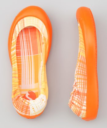 Orange Scratch Plaid Ballet Flat