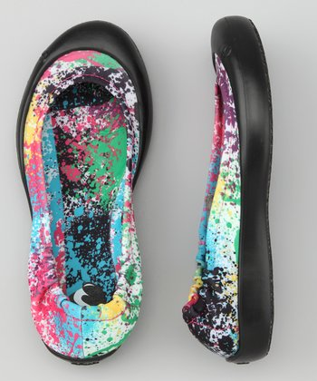 Black & Pink Paint Splat Ballet Flat