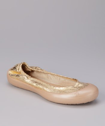 Gold Crackle Foil Ballet Flat
