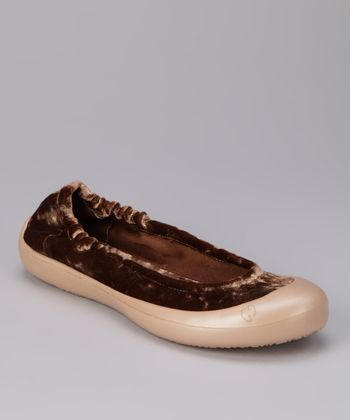 Gold Crushed Velvet Ballet Flat