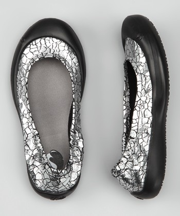 Black & Pewter Crackle Ballet Flat