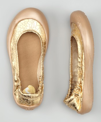Gold Crackle Ballet Flat