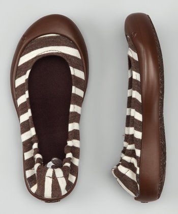 Coffee Stripe Jersey Ballet Flat