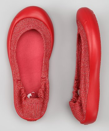 Cranberry Lurex Knit Ballet Flat