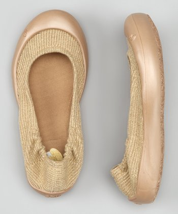 Gold Lurex Knit Ballet Flat