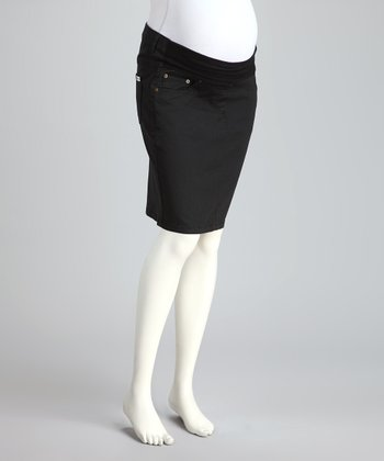 Black Drill Under-Belly Maternity Skirt