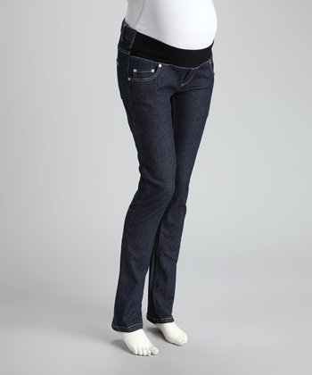 Silver Denim Under-Belly Maternity Straight-Leg Jeans