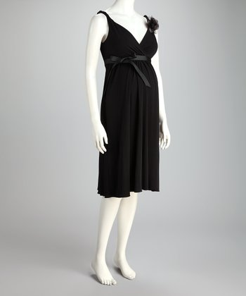 Black Grecian Party Maternity Dress