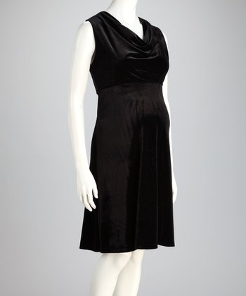 Black Velvet Drape Maternity Dress
