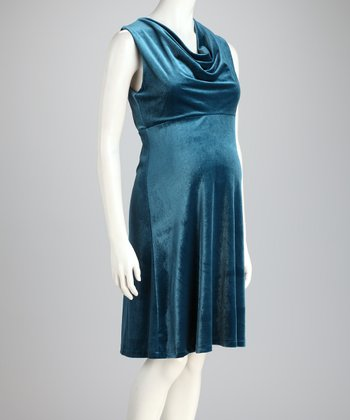 Baltic Velvet Drape Maternity Dress