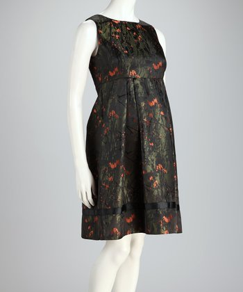 Green Floral Jacquard London Maternity Dress