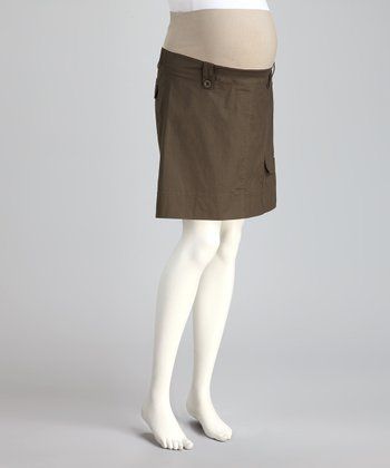 Khaki Mid-Belly Maternity Cargo Skirt