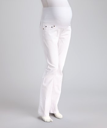 White Drill Mid-Belly Maternity Bootcut Jeans