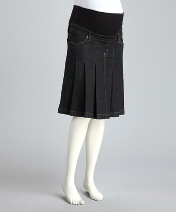 Dark Denim Mid-Belly Maternity Pleated Skirt