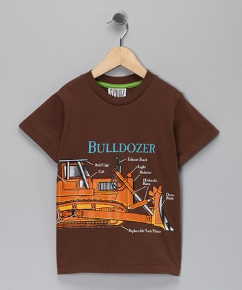 Brown 'Bulldozer' Tee - Toddler