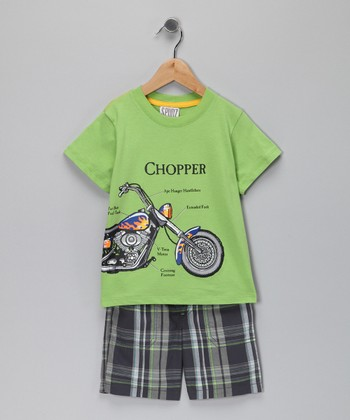 Lime Green Chopper Tee & Plaid Shorts - Infant