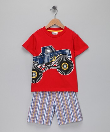 Red Monster Truck Tee &  Plaid Shorts - Infant