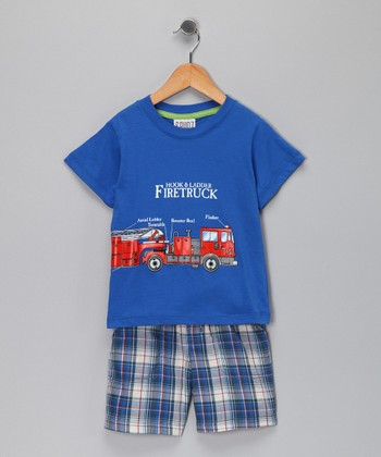 Blue Fire Truck Tee & Plaid Shorts - Infant