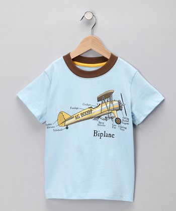 Light Blue 'Biplane' Tee - Boys