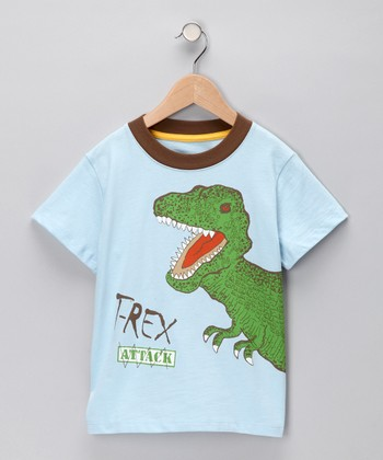 Light Blue 'T-Rex Attack' Tee - Infant