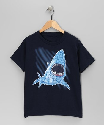Navy Shark Tee - Boys