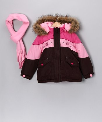 Cocoa & Pink Faux Fur Coat & Scarf - Infant, Toddler & Girls