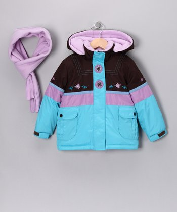 Cocoa & Turquoise Ice Coat & Scarf - Infant, Toddler & Girls