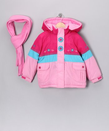 Berry Pink & Peony Coat & Scarf - Toddler & Girls