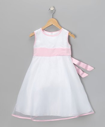 White & Pink A-Line Dress - Girls
