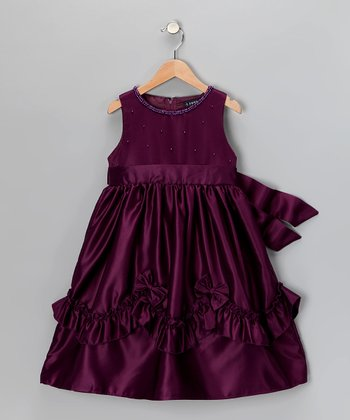 Plum Beaded Dress - Girls