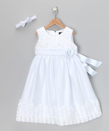 White Flower Dress & Headband - Infant & Toddler