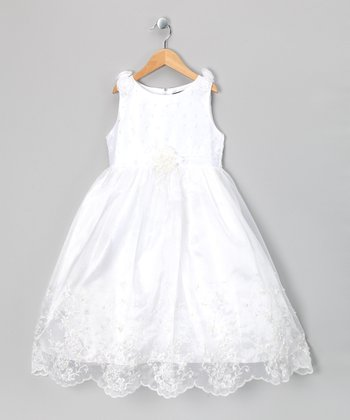 White Wispy Tulle Sleeveless Dress - Girls