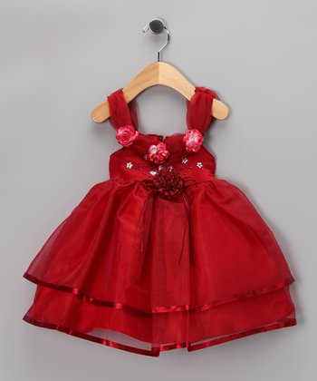 Burgundy Tulle Rosette Dress - Infant