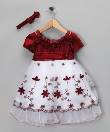 White & Burgundy Floral Dress & Headband - Infant