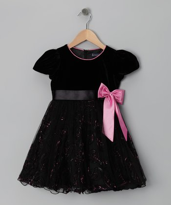 Black & Pink Bow Dress - Infant, Toddler & Girls