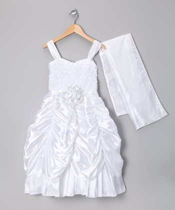 White Pick-Up Rosette Dress & Sash - Girls