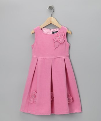 Pink Pleated Flower Dress - Girls