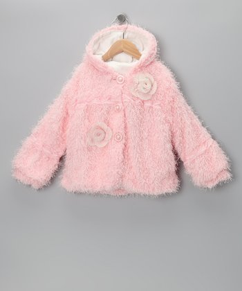 Pink Faux Fur Rosette Jacket - Girls