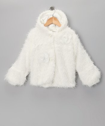 White Faux Fur Rosette Jacket - Toddler & Girls